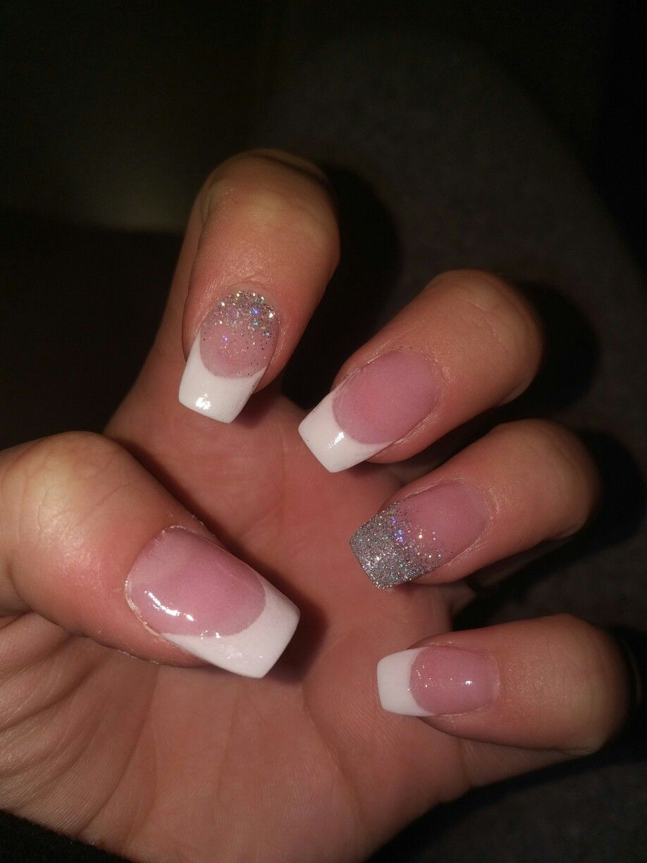 Acrylic Nails Coffin French Manicure With Silver Glitter French Manicure Acrylic Nails Glitter French Manicure French Nails