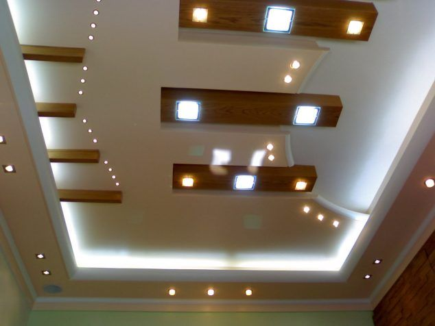 Layers Of Lights On Ceiling   Wood Beams With Inset Lights 15 Decorative  Ceiling Design Ideas