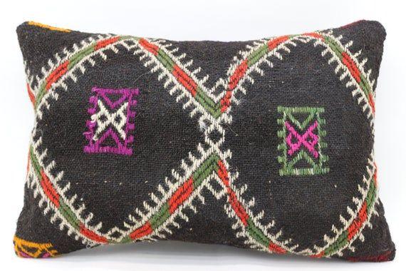 Turkish Kilim Pillow, 16x24 Organic Pillow, Covers Pillow, Black Pillow, Handwoven Pillow, Patterned