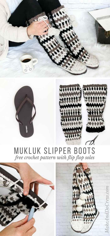 Mukluk Crochet Slipper Boots with Flip Flop Soles - Free Pattern ...