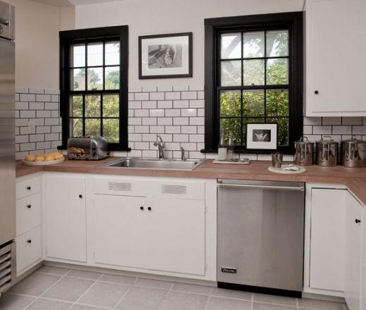 Pin By Amanda P Chapman On The Kitchen White Subway Tile Kitchen Black Window Trims Black Kitchens