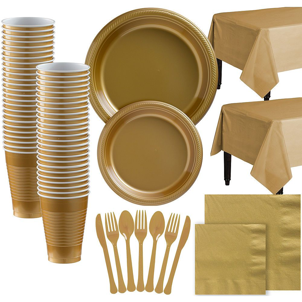 Gold plastic tableware kit for 100 guests kids party