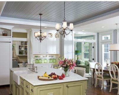 tray ceiling with bead board kitchen