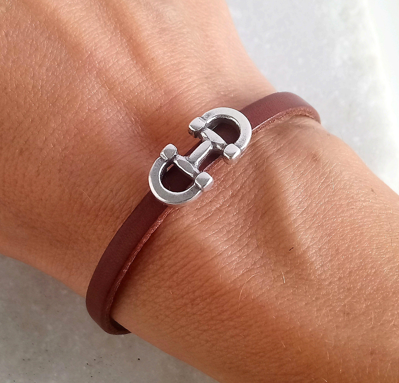 Horse bracelet stirrups leather bracelet gift for him