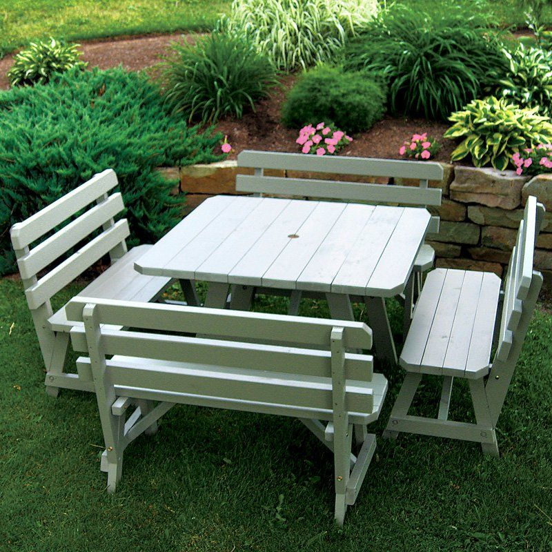 A L Furniture Yellow Pine Traditional Square Picnic Table With 4 Backed Benches Small Backyard Landscaping Picnic Table Used Outdoor Furniture
