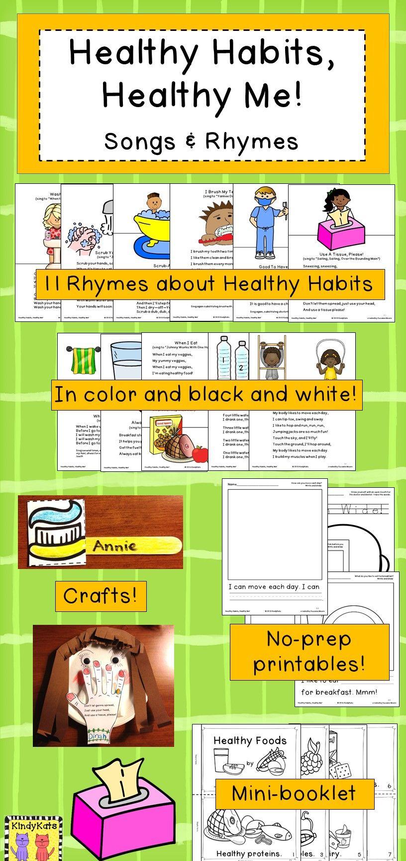 Healthy Habits BUNDLE: Songs & Rhymes/Healthy Me! Lotto | Healthy ...