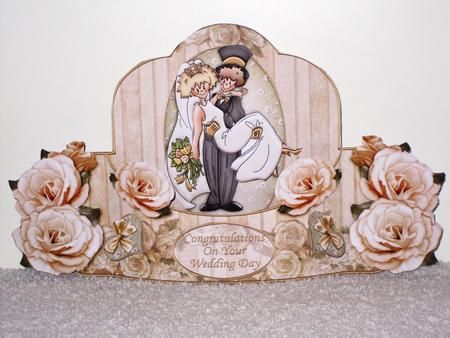 WEDDING Push and pull 3d Card Kit on Craftsuprint designed by Janet Briggs - made by Wayne  Swan