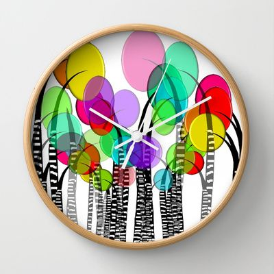 Whimsical and Funky Trees II Wall Clock by Kippygirl - $30.00