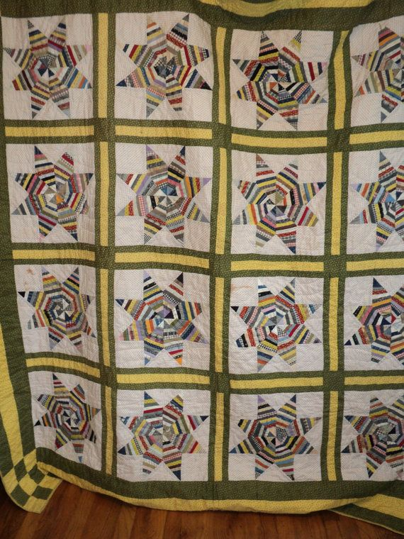 Antique string star quilt,1920's. Each star is made up of 96 individual small pieces and there are 16 stars.