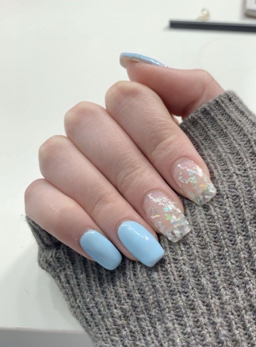 Clear Glitter Nails Blue Nails Naildesigns Polygel Polygelnails Nailtrends Polygel Nails Clear Nails Cute Nails