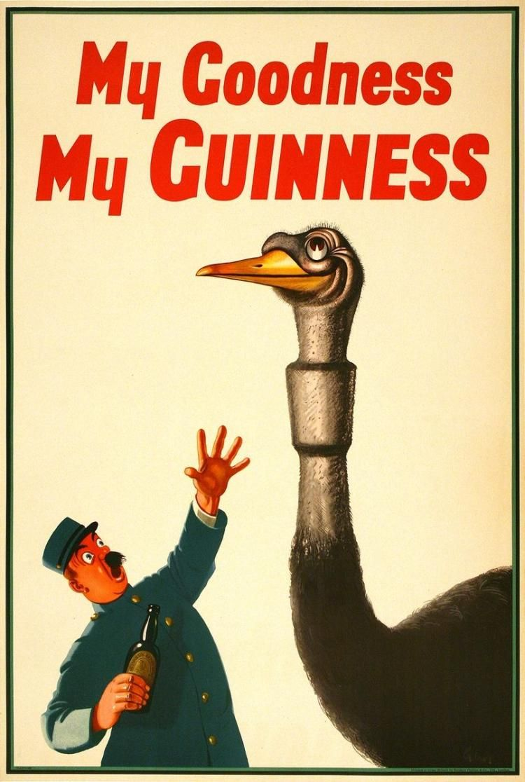 MY GOODNESS MY GUINNESS - OSTRICH ORIGINAL VINTAGE POSTER BY ...