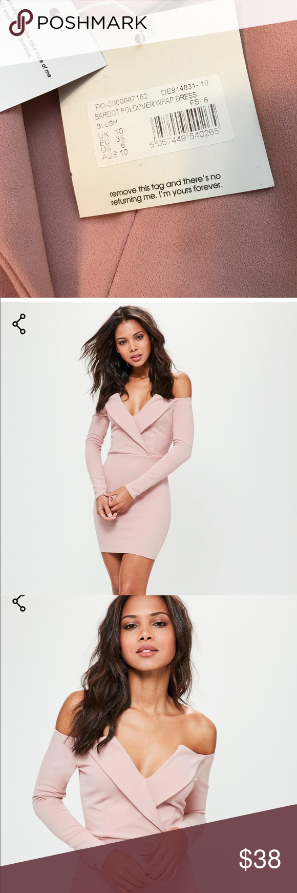 58ea5b81d31f NWT Missguided Bardot foldover Wrap Dress Never worn, Blush-  figure-flattering dress - featuring a foldover wrap style, v neck, long  sleeves and a pale pink ...