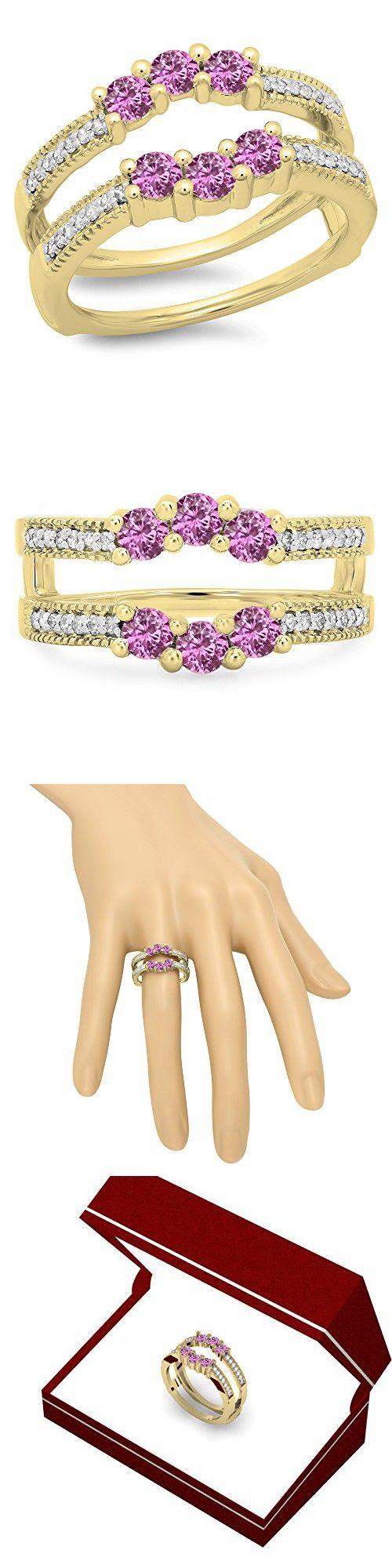c8fc56603d3eb DazzlingRock Collection 14K Gold Round Cut Pink Sapphire & White ...