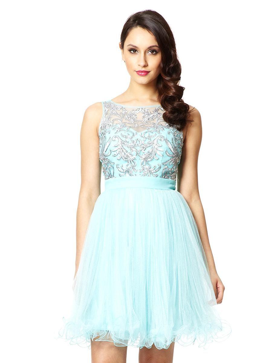 7ef881ac0 Aqua Mesh Sequin Embellished Prom Dress - Quiz Clothing