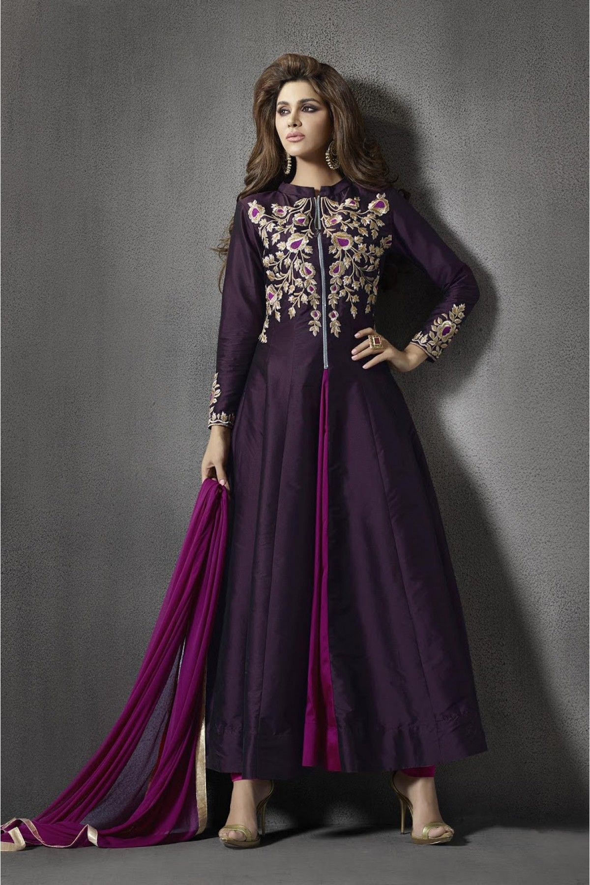 39ab7faa54e Purple Colour Silk Fabric Party Wear Unstitched Anarkali Suit Comes With  Matching Bottom and Dupatta. This Suit Is Crafted With Resham Work