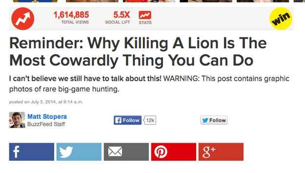... and I made this post about how cowardly it is to kill a lion.