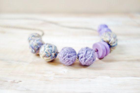 Lilac Yarn Necklace. Wool Yarn Fiber Necklace. by NariDesignPot
