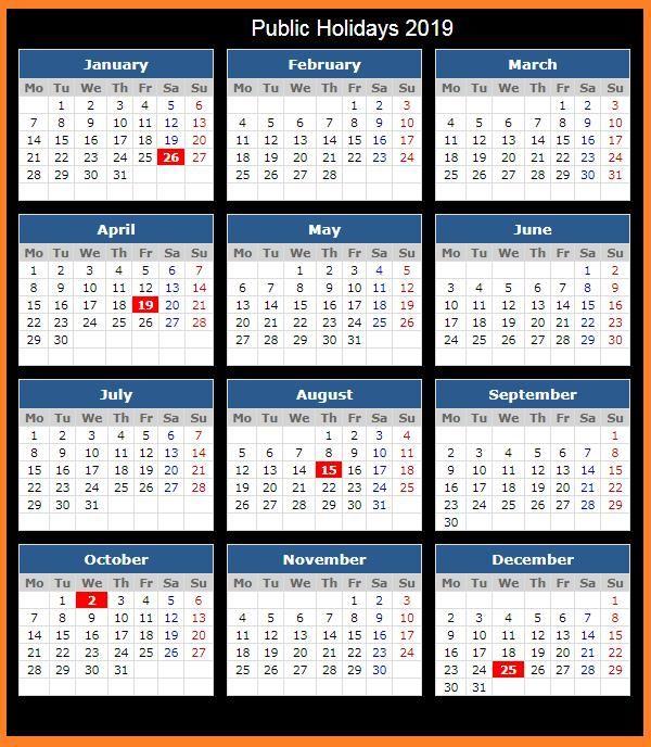 2019 Calendar Holidays Printable Calendar2019 Printablecalendar