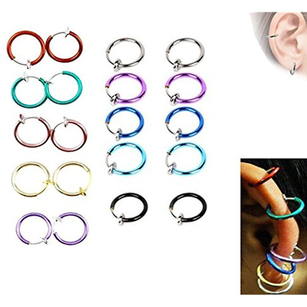 Non piercing nose pin   Pairs Hoop Clip On Earrings Non Piercing Fake Spring Septum Nose