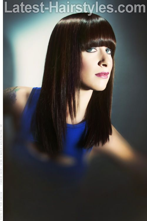 Straight Across Bangs Glossy Long Style