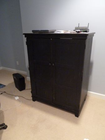 Black Wooden Distressed Double Door Armoire. Perfect As Computer Or  Broyhill Armoir Computer TV Hutch