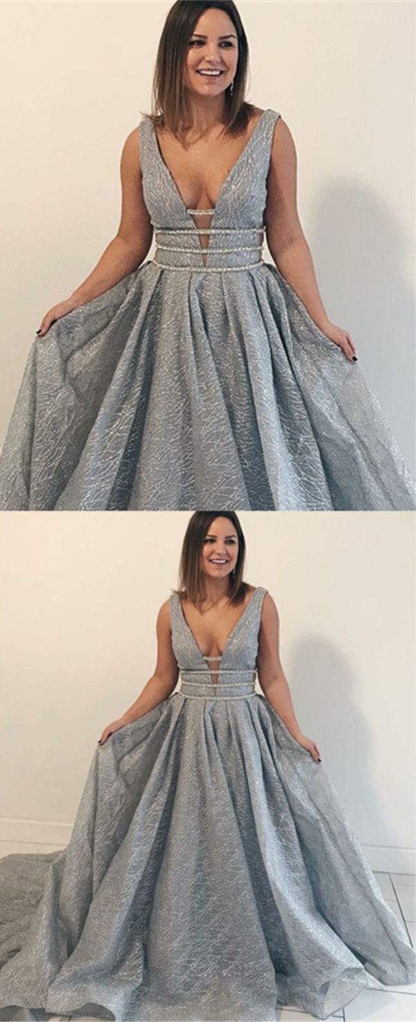 Aline vneck court train grey lace prom dress with beading prom
