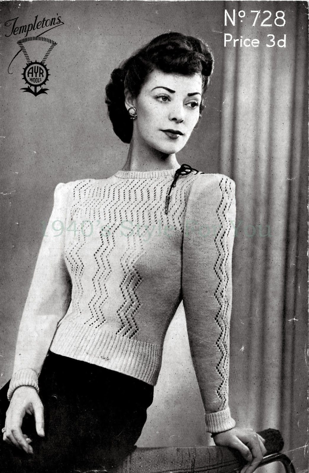 Gratis patroon free knitting pattern 1940s jumper templetons free knitting pattern 1940s jumper templetons 728 1940s style for bankloansurffo Image collections