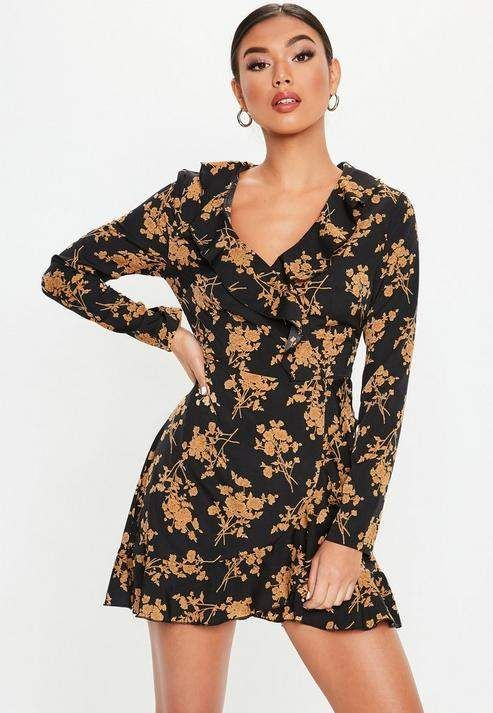 d42947348018 Missguided Black Floral Ruffle Tea Dress in 2019