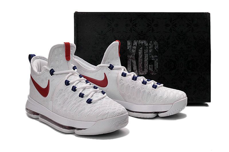 new style 6501d 7c340 New Basketball Shoes 2017 Big Boy KD 9 IX USA White Red Blue