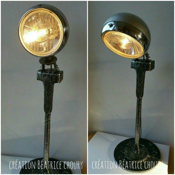 lampe de bureau r cup avec un vieux phare cr ation de b atrice pour week end l 39 atelier. Black Bedroom Furniture Sets. Home Design Ideas