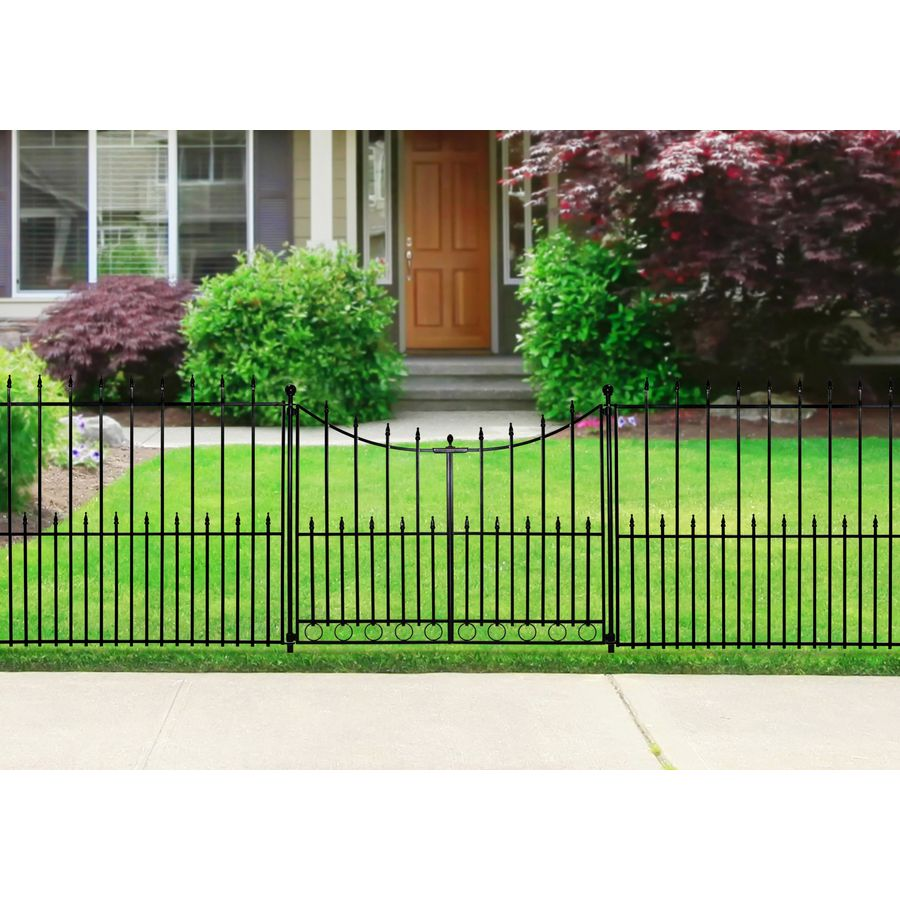 Shop No Dig Powder Coated Black Steel Fence Gate Common