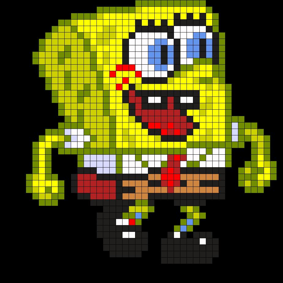 Spongebob By Arcanjulio On Kandi Patterns Perler Beads Pony Bead Patterns Perler Bead Patterns