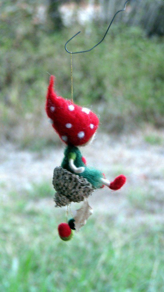 Weihnachten gefilzt Ornament inspiriert Waldorf Gnome, Kinderzimmer Dekoration, Baumschmuck, Christbaumschmuck,