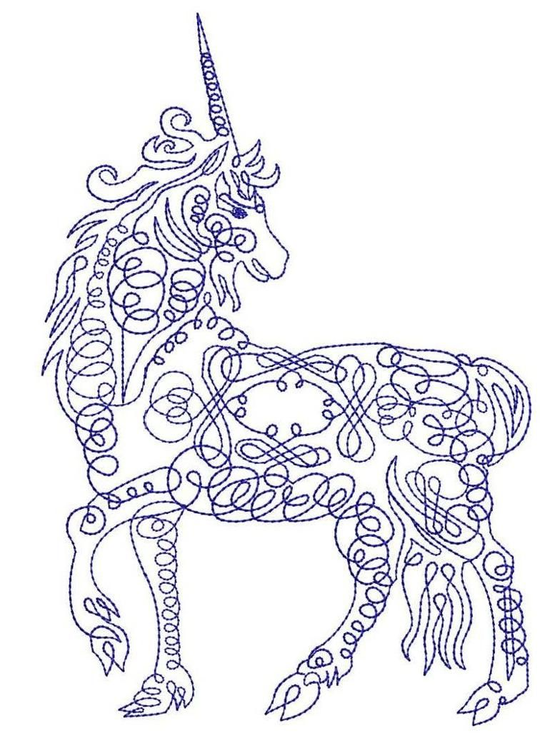 Caligraphy unicorn machine embroidery design embroidery