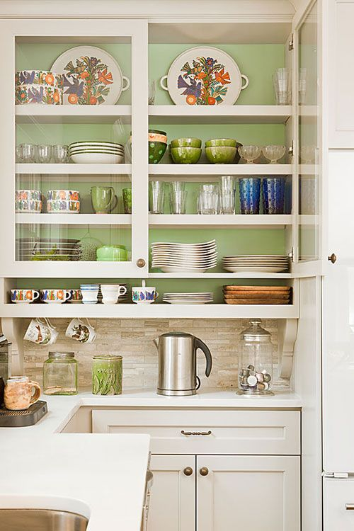 Try painting the inside of your glass front cabinets for a pop of ...