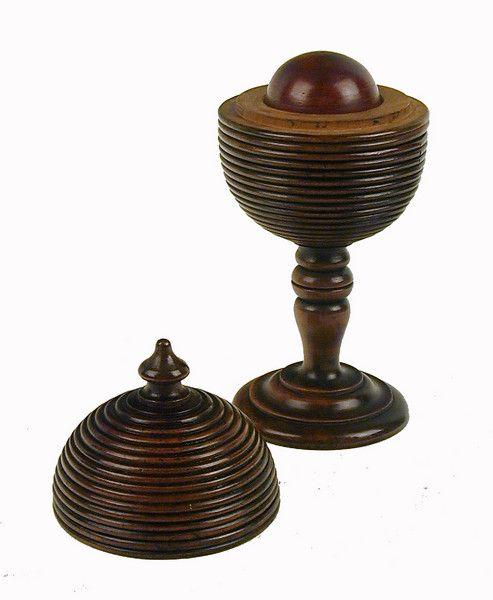 Fruitwood Cup & Cover 'Magical' Trick Game. c.1800. England.