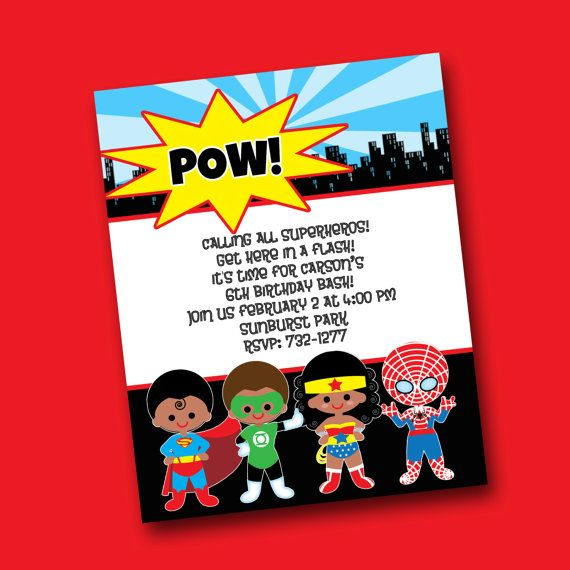 Super hero party invitation costco format rylans 3rd birthday super hero party invitation costco format by margeryday on etsy filmwisefo Images