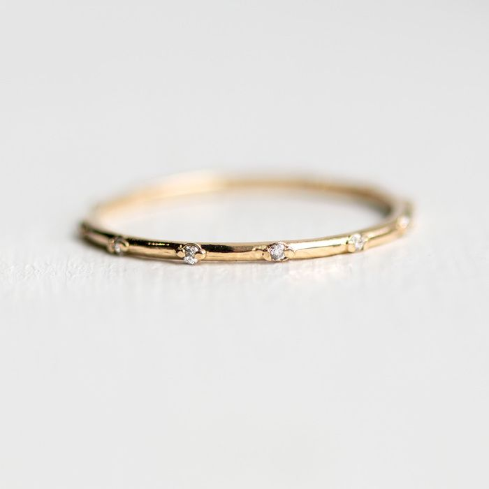 Le Band In Solid 14k Gold Handmade Tiny Diamond Eternity By Melanie Casey Jewelry