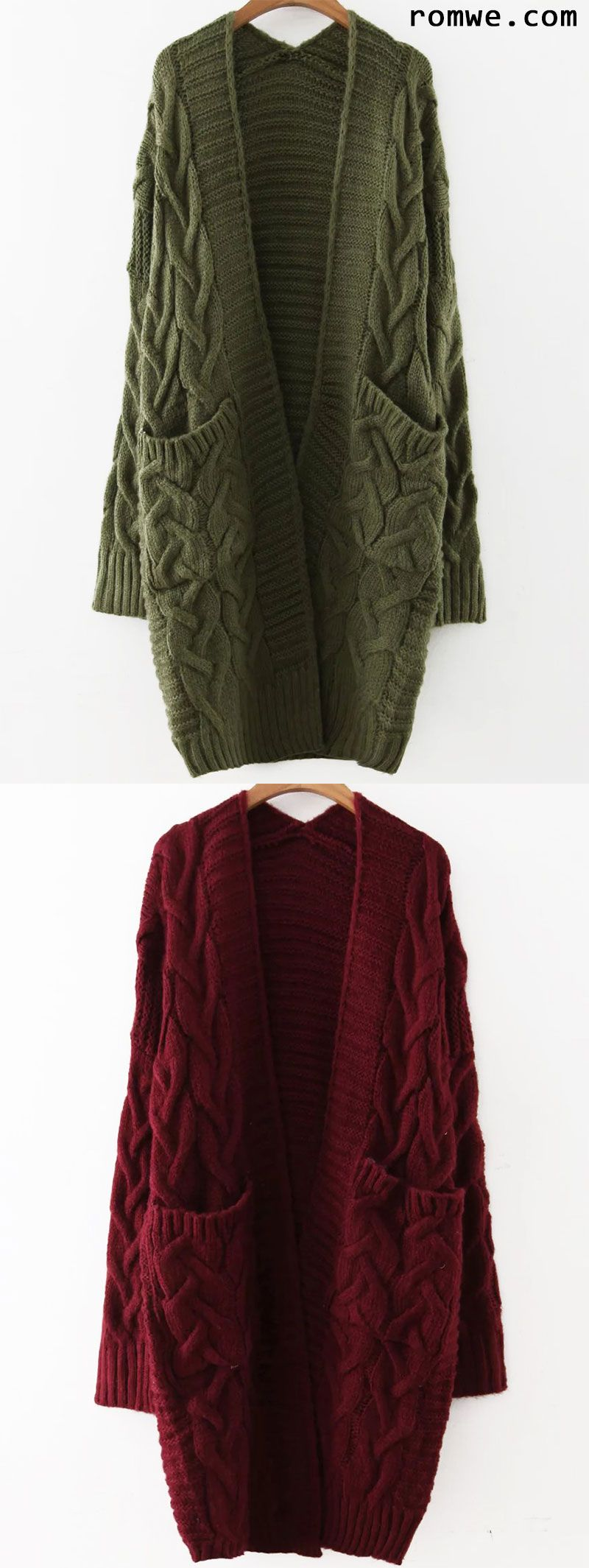 Cable Knit Front Pocket Long Sweater Coat | Romwe Hot Buy ...