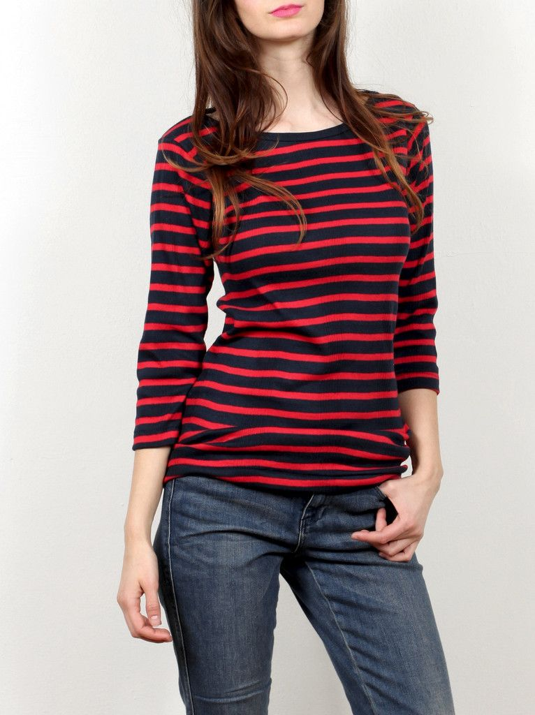 Small Trades Boatneck Tee Shirt - Red/Navy