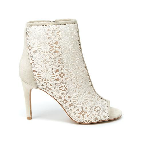 Nanette Nanette Lepore Heidi Suede and Lace Shootie - Ivory/Off White
