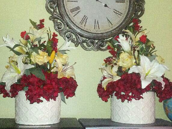 Pulpit floral arrangements that I made last year sometime. The church really appreciated them!