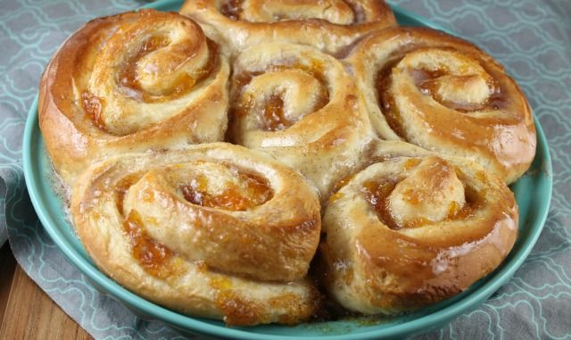Peach Pie Cinnamon Rolls Recipe baked by Miss in the Kitchen