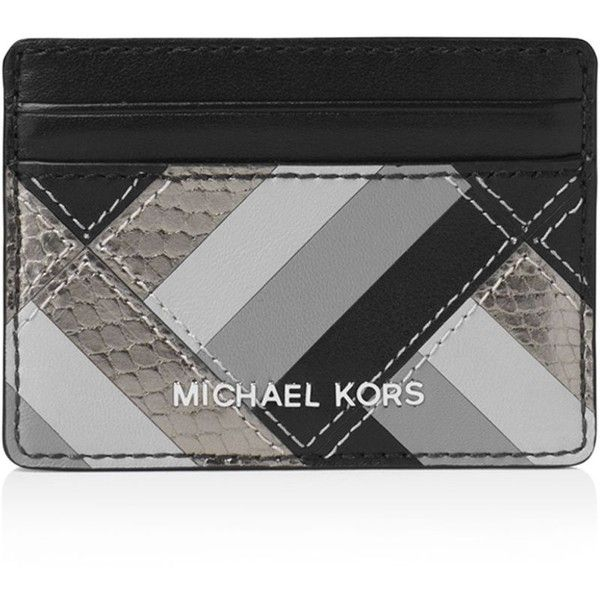 Michael Michael Kors Jet Set Travel Marquetry Patchwork Card Case ($72) ❤ liked on Polyvore featuring bags, wallets, black, logo bags, michael michael kors wallet, plastic travel bags, patchwork bags and travel wallets