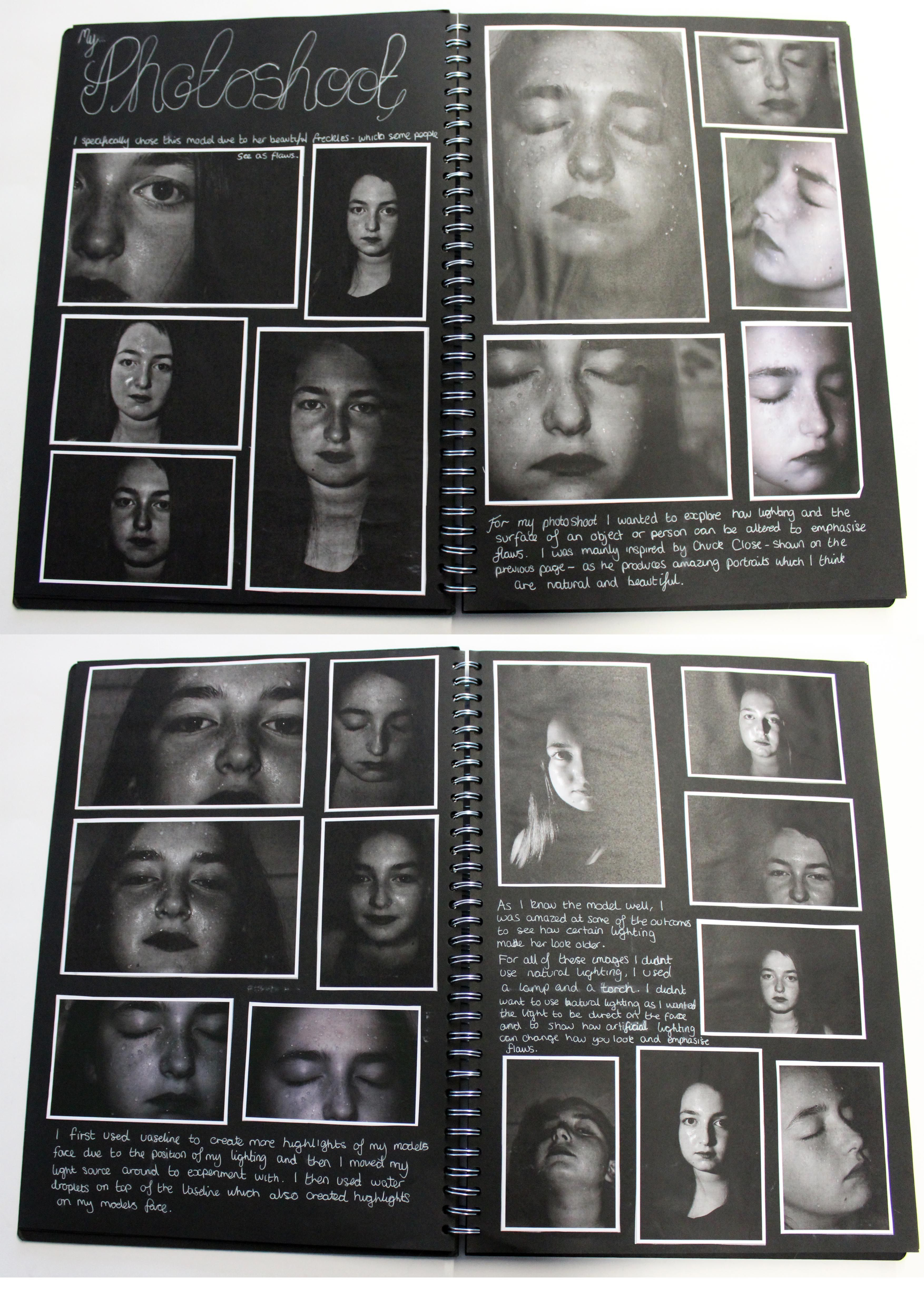 A2 Photography A3 Black Sketchbook Photoshoot Theme