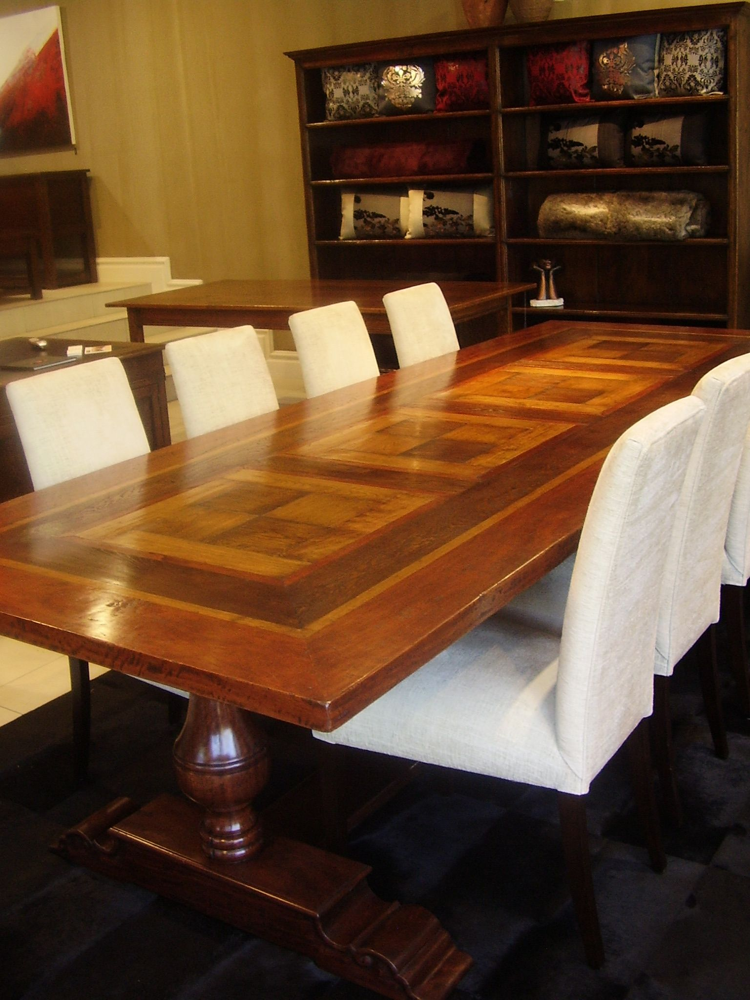 Pedestal Parquetry Table River Red Gum French Oak And Cherry