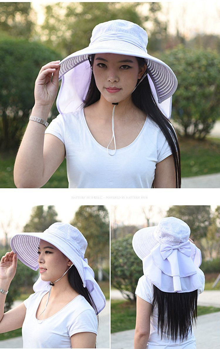 805ea1e356ba9 Soyoo Women s Neck Protection Big Brim Sun Hat with String (grey) at Amazon  Women s Clothing store