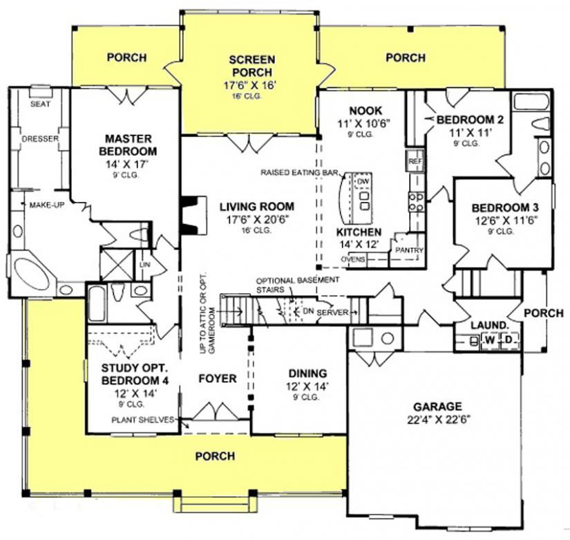 655900 3 Bedroom 3 Bath Country Farmhouse With Open Floor Plan And Screened Porch House Pl Country Style House Plans Ranch House Plans Country House Plans
