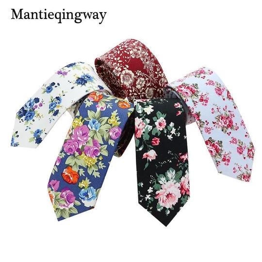 Men Floral Skinny Slim Necktie Cotton Narrow Business Casual Wedding US