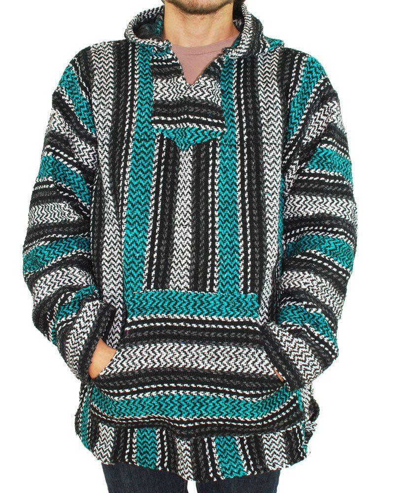 mexican threads rasta baja joe teal hoodie surfer drug rug poncho pullover. Black Bedroom Furniture Sets. Home Design Ideas